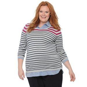 Oh Baby, Motherhood Mock-Layer Scoop Neck Sweater